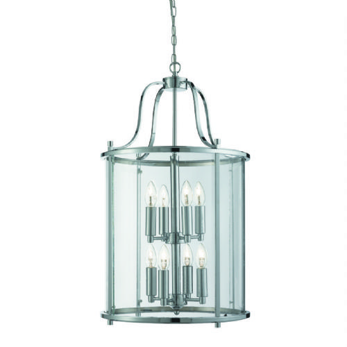 Victorian Lantern, 8 Light Chrome, Clear Glass 3068-8Cc